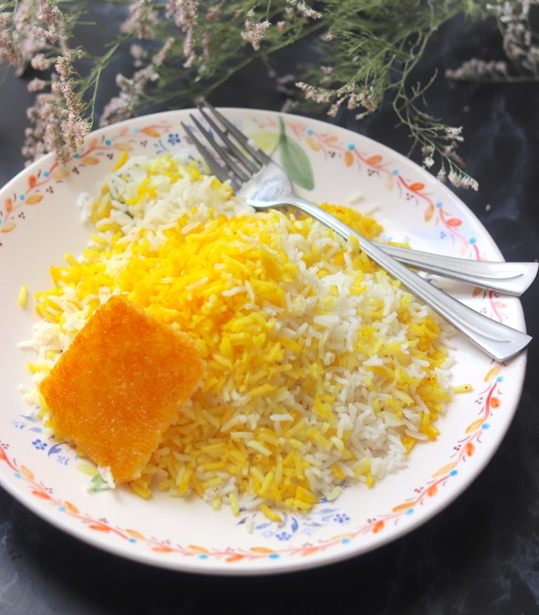 Cooked saffron rice in a plate