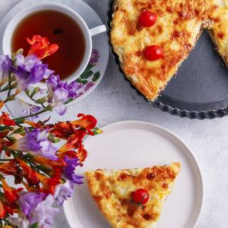 Turn on the grill for the last 3-5 minutes to make it golden. Your amazing French Quiche Lorraine is ready. Enjoy!
