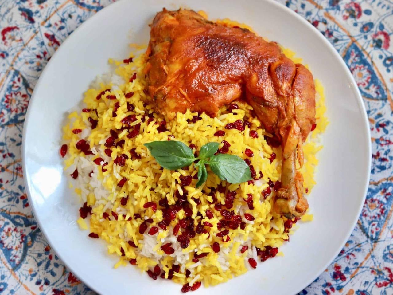 Zereshk Polo ba Morgh – Barberry Rice with Saffron Chicken