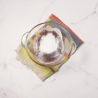 Also, sift baking powder and vanilla.