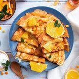 Best breakfast crepe with honey and orange