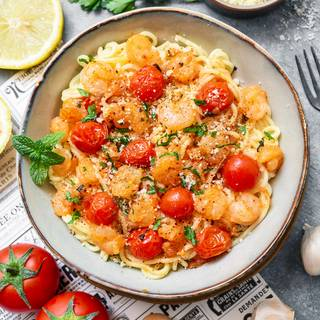 Garlic Tomato Shrimp Pasta Recipe