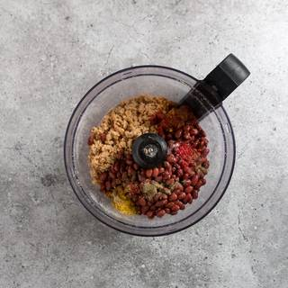Put all your ingredients in a food processor and mix them until the mixture becomes smooth and even.