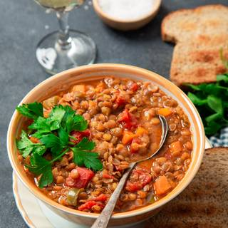 You can use pieces of toasted bread alongside this soup.