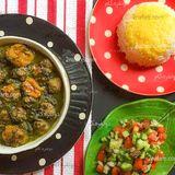 Persian Spinach Plum Stew with Meatballs (Khoresht Aloo Esfenaj)