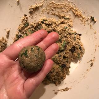 Form the mixture to 12 balls by rolling tightly in your hands.