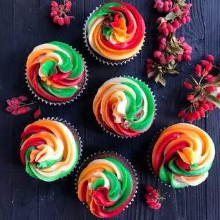 Your colorful buttercream is ready to decorate your delicious cupcakes with and enjoy.
