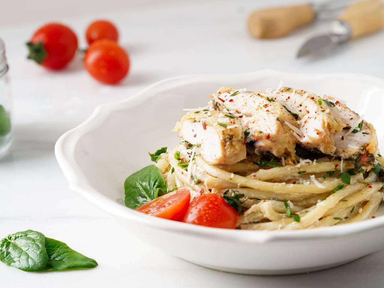 Baked Creamy Spinach Chicken Parmesan Recipe
