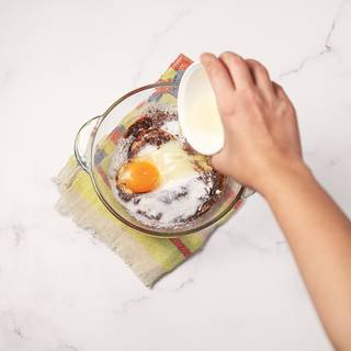 Add egg to the mixture.