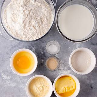 Prepare and measure the ingredients for the English muffin. leave them to become room temperature.