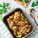 Baked Chicken Legs and Vegetables