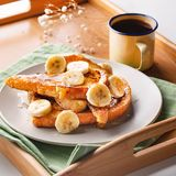 Classic French Toast With Honey and Banana Toppings