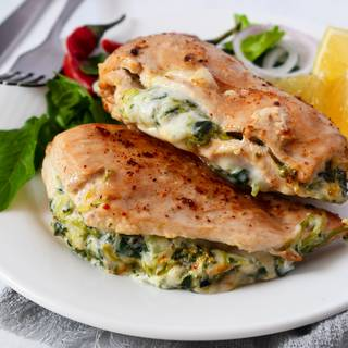 Your stuffed chicken is ready to eat. you can add all kinds of vegetables you like to this recipe