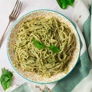 If you want to have this sauce with your pasta (it's my favorite meal!), you need to cook the pasta in water until it's soft, drain it and then mix it with the pesto sauce.