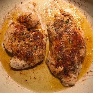 Cook the chicken until golden on each sides and the chicken is no longer pink. 5 minutes for each side is enough.